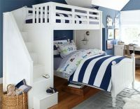 navy walls, navy and white stripe bedding; good idea to
