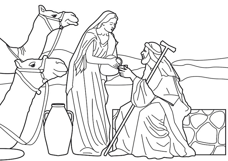 Rebecca at the well with Abraham's servant. Bible coloring