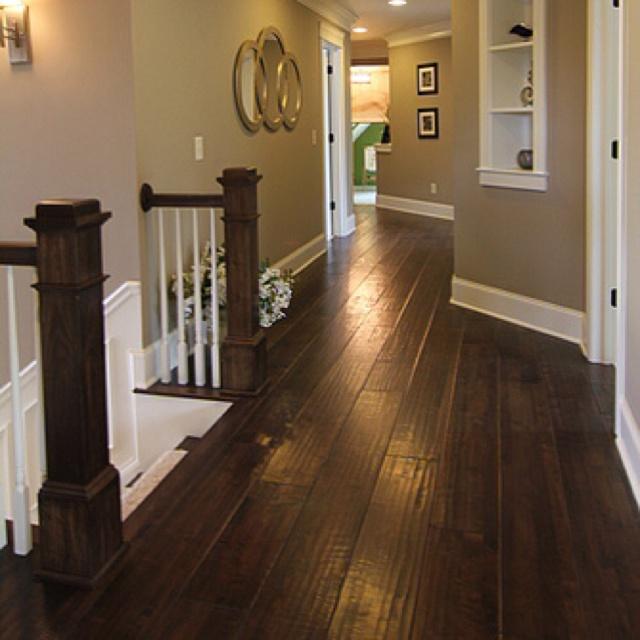 dark hardwood floors with tan paint