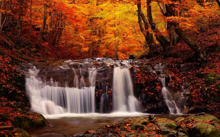 Fall Pumpkin Computer Wallpaper Autumn Waterfall Autumn Foliage Pinterest Waterfalls