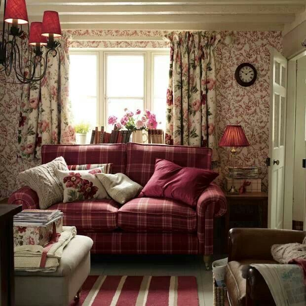 Laura Ashley Red Tartan sofa Cottage living room