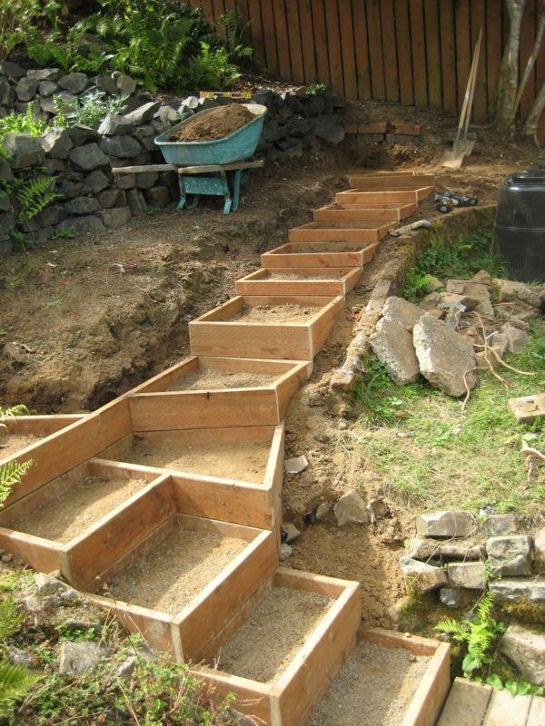 gartengestaltung pflege landschaftsbau gartenweg aus holz diy,