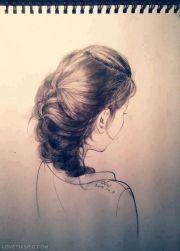 hair sketch art drawing