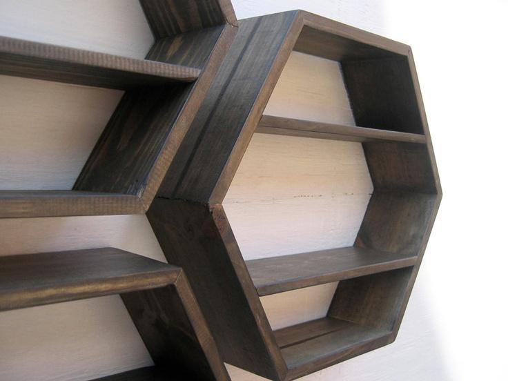 Hexagon Shelves Deep Brown Set Of 3 Small Med Large
