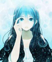 anime girl blue hair green eyes