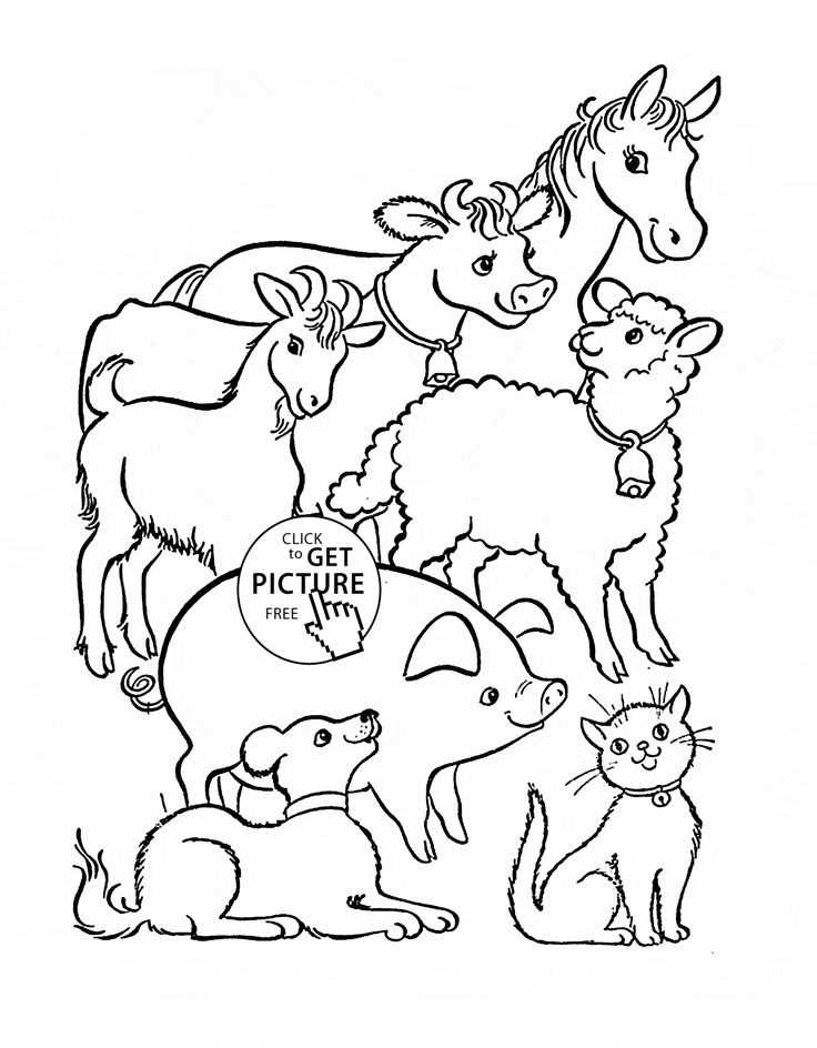 Farm Animals coloring page for kids, animal coloring pages