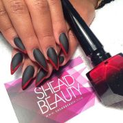 pointed matte nails. black red