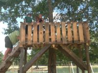 Tree house made from pallets and other scrap wood. We put ...