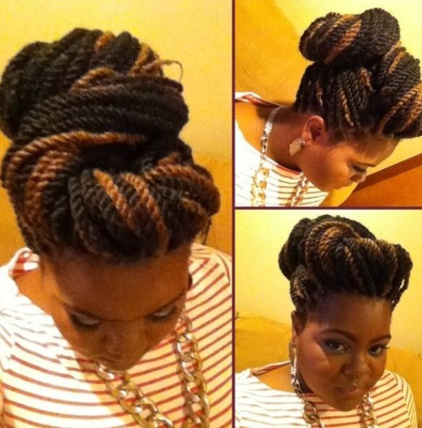 Marley Twists in an updo  Marley twist styles  Pinterest