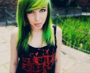 lime green and black hair