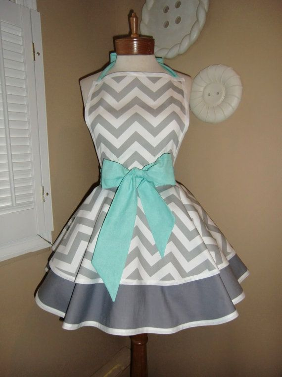 Chevron Print Accented with Aqua Blue Womans Retro Apron With Tiered Skirt And B