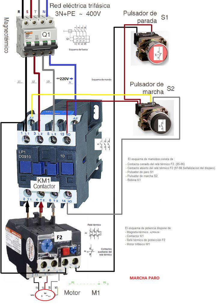 timer and contactor wiring diagram sunpro super tach 2 esquemas eléctricos: marcha y paro como conectarlo trifasico | eléctricos pinterest