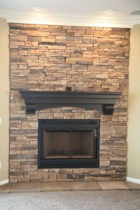 Stacked stone fireplace.