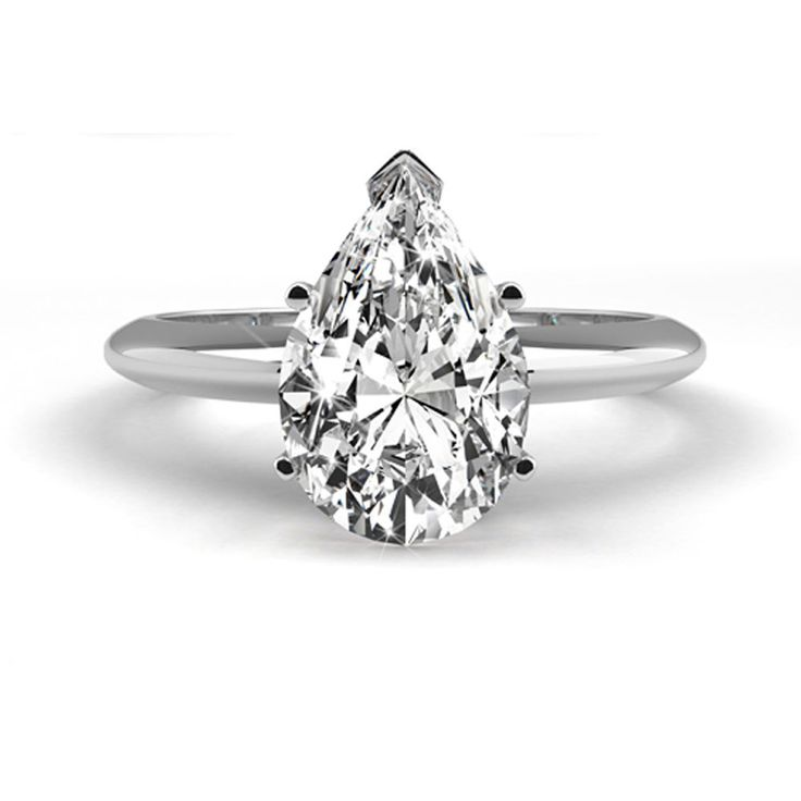 1 Carat Weight Pear Shape Natural Diamond Engagement Ring