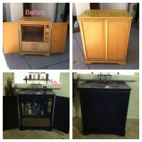 Renovated 1950's TV cabinet into home bar. #bar #diy #