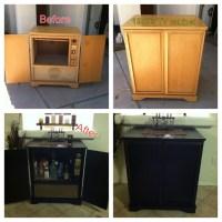 Renovated 1950's TV cabinet into home bar. #bar #diy #