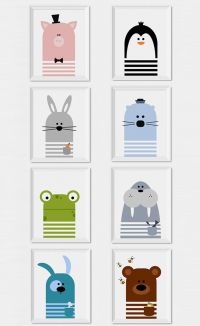 Fun and modern animals wall art to decorate a nursery or ...