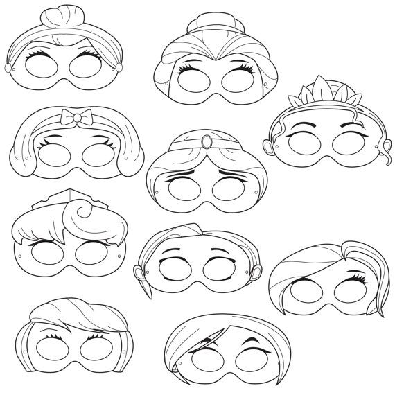 Princesses Printable Coloring Masks, princess masks