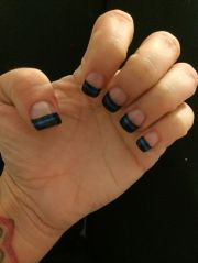 thin blue line nail design in support