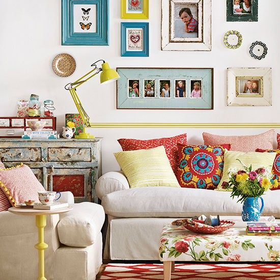 Colourful boho chic living room | Living room decorating: