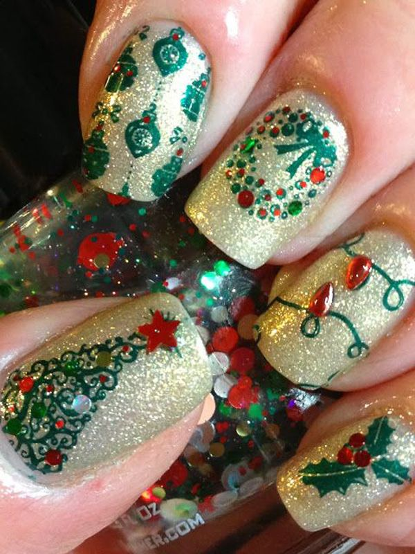 Glittery and gorgeous looking Christmas inspired nail art. Fill up your nails in wonderful glitters of all colors and add