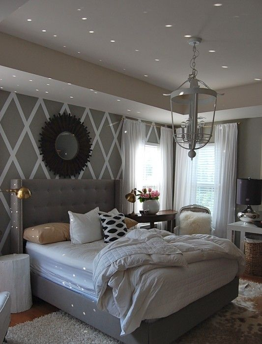 Bedroom Paint Ideas Grey I Want This -grey Bedroom, Upholstered Bed, White Bedding