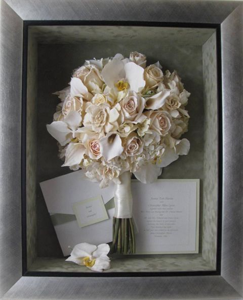 Repurpose your wedding bridal bouquet in shadow box or frame to use as home decor  httpblog