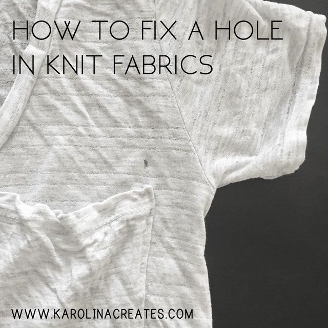 A guide on how to fix a hole in knit fabric. Mend holes in your favorite shirt easily with fabric glue!