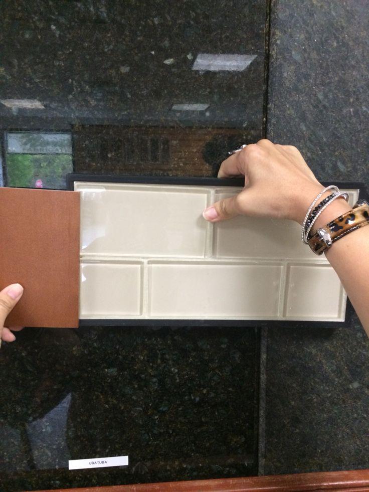 Uba Tuba granite and Buff field subway glass tile for