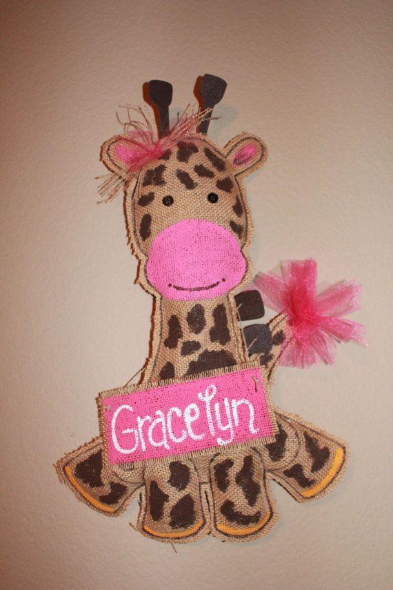 Giraffe burlap Baby Door hanger giraffe hospital by Cutipiethis 3000  BABY IDEAS  Pinterest