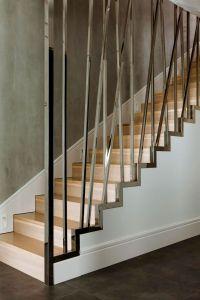 Warsaw Apartment Modern Staircase Black Tile Floors Wood