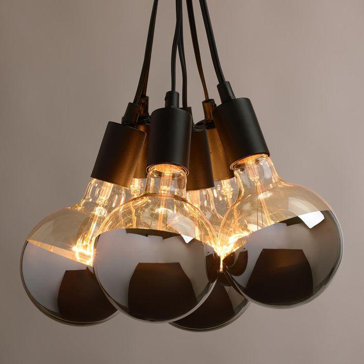 Chrome Tip 6 Bulb Cluster Pendant Lamp Powder
