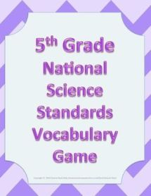 Vocabulary Game 5th Fifth Grade NGSS Next Generation