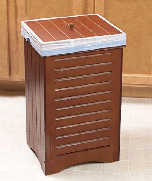 New Wooden Kitchen Trash Bin Brown Holds 30 Gallon Bag