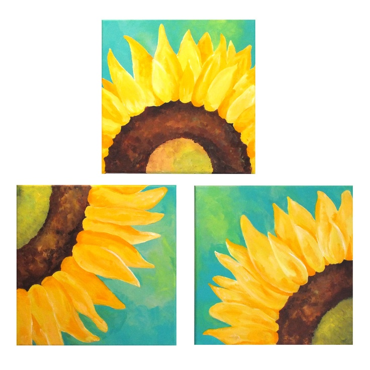 SUNFLOWERS ON TEAL  Set of 3 12×12 Abstract Paintings Home and Office Wall Art