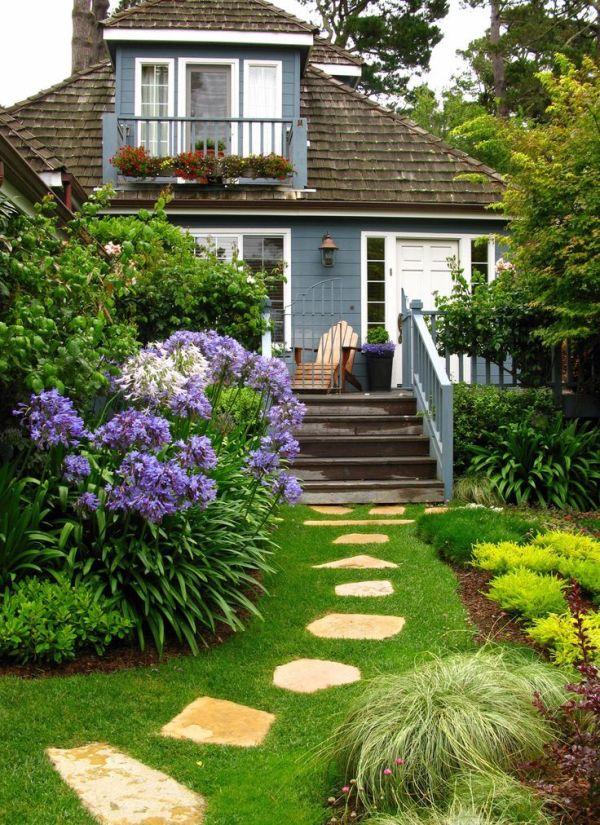 beautiful blue cottage add curb
