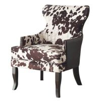 Rustic Classic Modern Faux Leather Cow Animal Print Accent ...