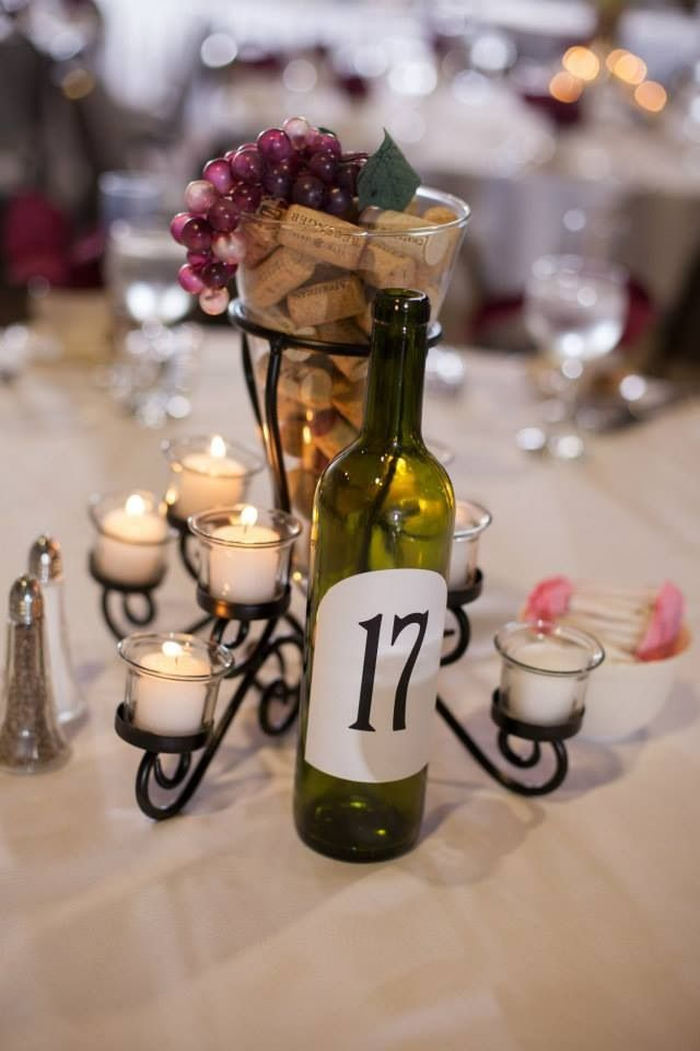 Centerpieces for wine theme wedding  similar to these httpswwwwinetastelifestylecomstore