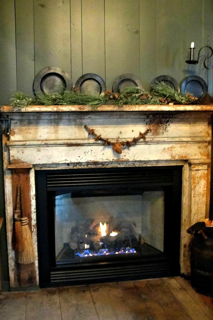 The Cranky Crow  love the fireplace mantel  Primitives  Pinterest  Fireplaces The fireplace