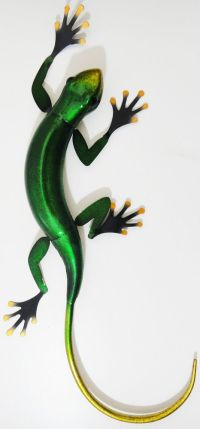 Metal Wall Art - Large Green Tropical Gecko | STAINED ...