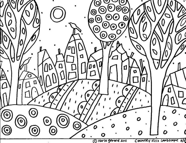 RUG HOOK PAPER PATTERN Country Hills FOLK ART Karla G