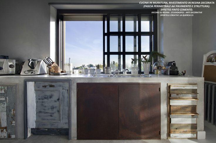 wwwstudioadp21it Arti Decorative PIANO CUCINA IN RESINA DECORO IN FINTO CEMENTO SPORTELLI