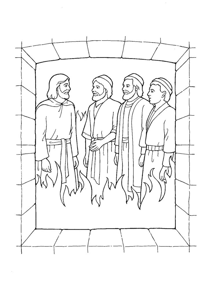 shadrach, meshach and abednego black and white clipart