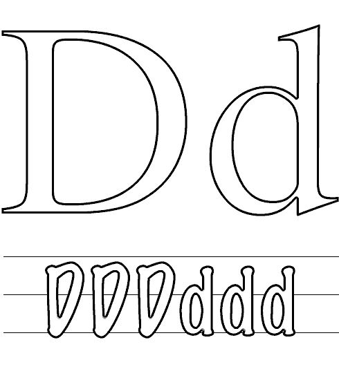 Letter D That Small And Capital Letter Coloring Page