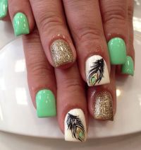 25+ best ideas about Feather Nail Designs on Pinterest