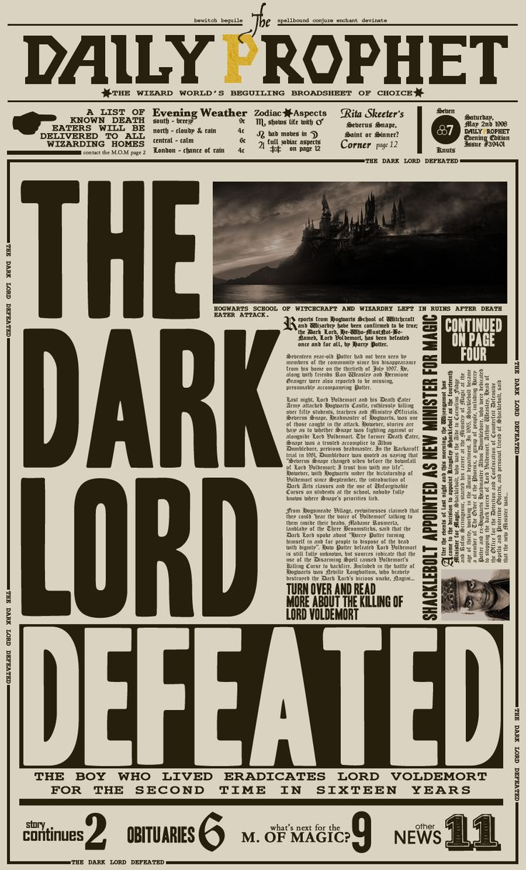 harry potter newspaper template