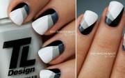 black white grey nails