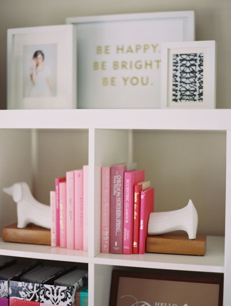 Pink Books And Daschund Bookends Bookcase Decor