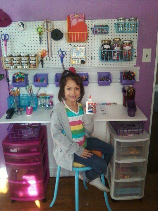 DIY kids art desk using tool organizers and stool dare I