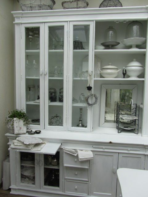 country cottage kitchen designs glass table china cabinet, hutch, dining room. white, grey, black ...